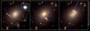 Schématické znázornění vzniku uprchlické galaxie Autor: NASA, ESA, and the Hubble Heritage Team