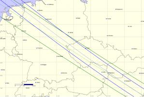 Původní výpočet stínů planetek nad Českem. Autor: Oliver Klös