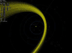 Detail proudu částic ETAds, které kříží dráhu Země Autor: Jakub Koukal