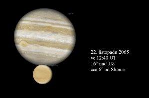 Těsná konjunkce Venuše a Jupiteru 22. listopadu 2065. Autor: Stellarium, Karel Halíř.