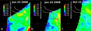 Změny jasnosti povrchu v oblasti Ganiki Chasma Autor: E. Shalygin et al (2015)