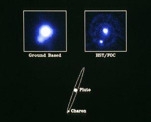 První pozorování Pluta a Charona ze Země a z Hubbleova kosmického teleskopu v roce 1990. Autor: NASA.
