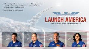 PR ikonka NASA k výběru astronautů pro testy komerčních lodí včetně portrétů zúčastněných Autor: NASA