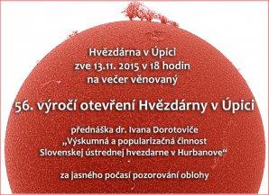 Pozvánka na 56. výročí založení Hvězdárny v Úpici. Autor: Hvězdárna v Úpici.