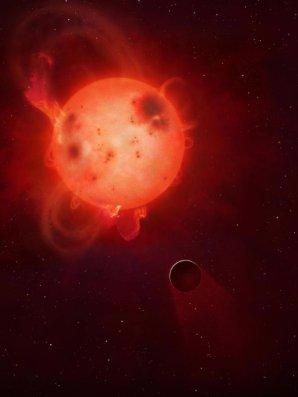Červený trpaslík Kepler 438 a exoplaneta Kepler-438b Autor: Mark A. Garlick/University of Warwick