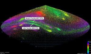 Geocentrické radianty meteorů náležejících oběma větvím meteorického roje Taurid. Autor: Jakub Koukal
