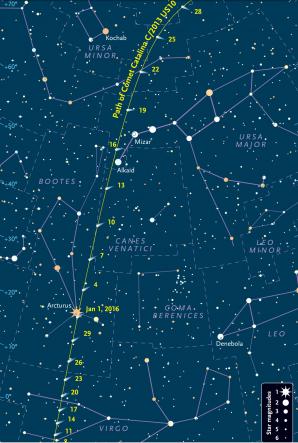 Mapka pro vyhledání komety Catalina v lednu 2016. Autor: Sky and Telescope.