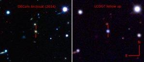 Vlevo snímek s hostující galaxií v nepravých barvách před explozí supernovy ASASSN-15lh pořízený přes Dark Energy Camera (DECam). Vpravo snímek stejné části oblohy se supernovou pořízený přes 1m dalekohled  Las Cumbres Observatory Global Telescope Network (LCOGT). Autor: The Dark Energy Survey, B. Shappee and the ASAS-SN team