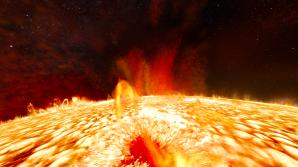 Nad bouřlivým slunečním povrchem v pořadu Sluneční superbouře. Autor: Hvězdárna a planetárium Brno