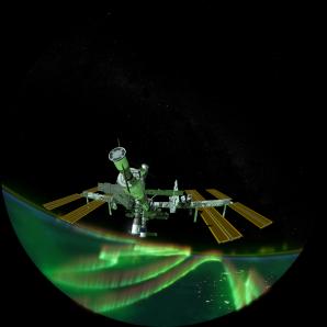 Pohled na polární záři z paluby ISS v pořadu Sluneční superbouře. Autor: Hvězdárna a planetárium Brno