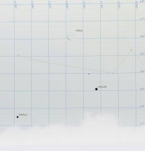 Měsíc s Venuši na ranní obloze 6. února pomohou vyhledat i těžko nalezitelný Merkur. Situace odpovídá času okolo 6:30 SEČ. Autor: Stellarium, Karel Halíř.