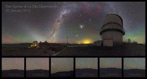 Dánský dalekohled na observatoři La Silla v Chile pod Mléčnou dráhou a barvami airglow. Červená tečka na obzoru vedle vzdálené kopule je rudý skřítek. Nad ním jsou také slabé gravitační vlny v airglow a zodiakální světlo. Ve výřezech dole jsou pak další zachycení skřítci. Autor: Petr Horálek/ESO.
