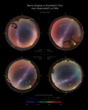 Barvy airglow a gravitační vlny nad La Silla. Autor: Petr Horálek.
