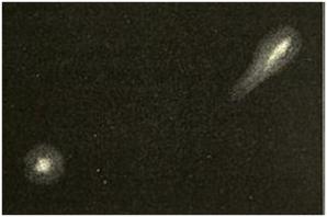 Skica dvou fragmentů komety v roce 1852 od A. Secciho Autor: A. Secchi