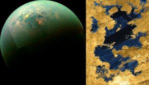 Levý obrázek je mozaika snímků Titanu, pořízených sondou Cassini v blízkém IR záření. Ve viditelném světle se jezera prozrazují odlesky světla. Vpravo je radarový snímek jezera Kraken Mare. Autor: NASA, Jet Propulsion Laboratory