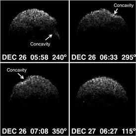Radarové obrázky asteroidu 2008 EV5 z roku 2011 Autor: ESA