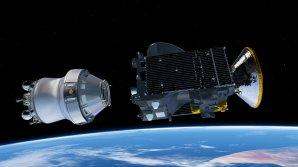 ANIMACE: oddělení sondy ExoMars (vpravo) od raketového stupně Briz-M nad Zemí Autor: ESA