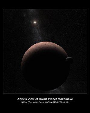 Kresba trpasličí planety Makemake a jejího měsíce Autor: NASA, ESA, and A. Parker (Southwest Research Institute)