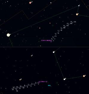 Mapka pro komety v květnu 2016. Data Guide 9