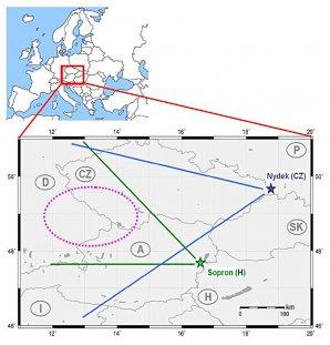 Pozice kamer Nýdek a Sopron a oblast MCS bouře. Autor: Jozsef Bór