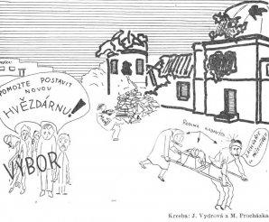 Pomozte postavit novou hvězdárnu - dobová kresba z Říše hvězd 1946-01, strana 15. Autor: Říše hvězd.