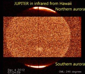 Planeta Jupiter v oboru infračerveného záření Autor: J. O'Donoghue, NASA Infrared Telescope Facility (IRTF)
