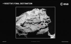 Červený kroužek označující lokalitu přistání sondy Rosetta Autor: ESA