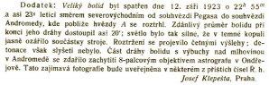 Faksimile dodatku k článku Josefa Klepešty z Říše hvězd 1923/5  strana 171-172 o bolidu z 12. září 1923 Autor: Josef Klepešta, Říše hvězd