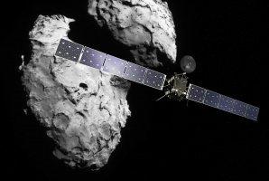 Evropská kosmická agentura plánuje družici Rosetta  poslat na povrch komety 67P Churyumov-Gerasimenko 30. září 2016. Autor: ESA.