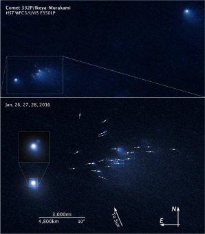 Rozpad komety 332P/Ikeya-Murakami na snímku z HST Autor: NASA, ESA, and D. Jewitt (UCLA)