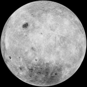 Odvrácená strana Měsíce. Pánev Aitken je tmavší oblastí dole Autor: wikipedia