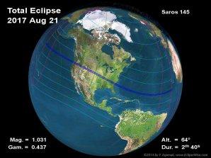 Zatmění Slunce 21. srpna 2017. Autor: Fred Espenak/NASA.