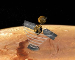Sonda Mars Reconnaissance Orbiter nad povrchem Marsu Autor: NASA