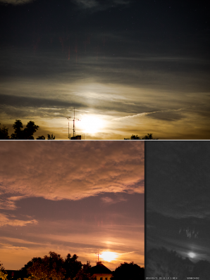 Red Sprite nad Slovenskem 21. srpna 2016 ve 22:16 SELČ ve vzdálenosti cca 200 km.  Zachycen přes SONY A7S + Samyang 85 mm f/1.4 (f/2), ISO 2500, 2sec. Zachycen přes Canon EOS 100D (mod) + Samyang 24 mm (APS-C 35 mm), f/1.4 (f/2), ISO 3200, 2.9 s. Využito UFO Capture, SONY Effio. Autor: Daniel Ščerba