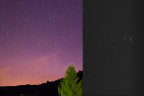 Red Sprite nad Libereckem 25. června 2016 ve 23:47 SELČ, ve vzdálenosti cca 150 km. Zachycen přes Canon EOS 100D (mod) + Samyang 16 mm f/2 (f/2.8), ISO 3200, 10 s.  Využito UFO Capture, SONY Effio. Autor: Daniel Ščerba