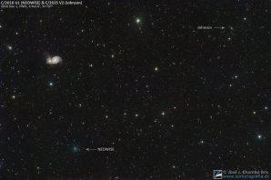 Komety C/2016 U1 NEOWISE a C/2015 V2 Johnson u proslulé Vírové galaxie v Honících psech. Kometa NEOWISE bude nejjasnější okolo Vánoc 2016 a na ranní obloze ji spatříme možná i malými dalekohledy. Kometa Johnson pak bude výrazná na přelomu června a července 2017, možná ji slabě spatříme i pouhýma očima. Autor: José J. Chambó