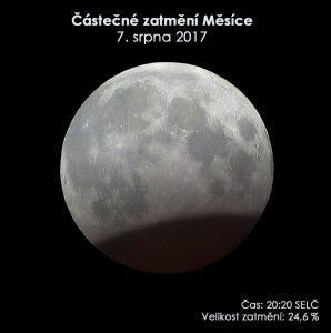 Simulační snímek polostínového zatmění Měsíce 7. srpna 2017. Autor: EAI.