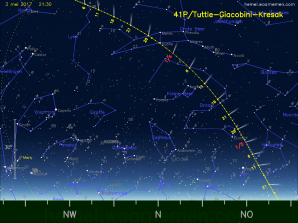 Dráha komety 41P/Tuttle-Giacobini-Kresák na jarní obloze 2017 v době její největší jasnosti. Autor: http://hemel.waarnemen.com