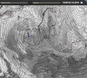 2. prosince 2016 panovalo nad střední Evropou, v týlu tlakové níže nad Ukrajinou silné severozápadní proudění. Autor: EUMeTrain.
