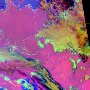 Mikrofyzikální RGB produkt družice Terra ukazující rozložení oblačnosti 2. prosince 2016 ve 21:18 UTC. Autor: NASA Terra/ČHMU.