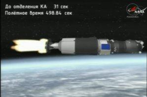 Animace letu lodi Progress na horním stupni nosné rakety z monitoru ruského řídícího střediska Autor: Youtube.com