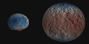 Ceres obsahuje v povrchové vrstvě 100× více ledu než Vesta Autor: NASA/JPL-Caltech/UCLA/MPS/DLR/IDA/PSI/LPI