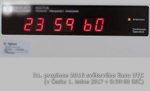 Přestupná sekunda viditelná na displeji automaticky řízených hodin. Autor: Ústav fotoniky a elektroniky AV ČR, v.v.i..