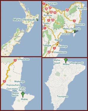 Mapa Severního ostrova s vyznačením poloostrova Mahia. Autor: Voyagemahia.com