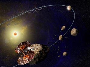 Sonda LUCY prolétává kolem planetek typu Trójané – kresba Autor: Southwest Research Institute