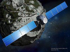 Sonda Psyche u stejnojmenné planetky – kresba Autor: SSL/Peter Rubin/Caltech-JPL