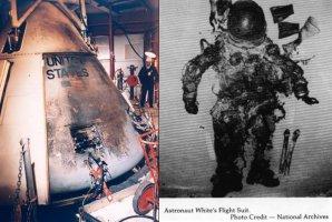 Kabina Apolla 1 a oblek Eda Whitea po požáru. Autor: NASA.