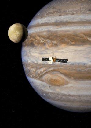 Umělecká představa sondy JUICE u Jupiteru. Sonda má odstartovat v roce 2022. Akademie věd se rovněž podílí na vývoji a výrobě jednoho z vědeckých přístrojů, který bude na palubě sondy. Autor: ESA.