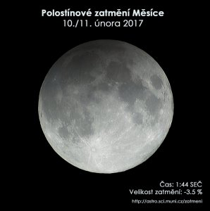 Simulační snímek polostínového zatmění Měsíce 11. února 2017. Autor: EAI.