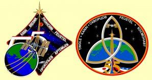 Dvě varianty loga dlouhodobé Expedice ISS 55, které se měl účastnit i Andrew Feustel. Autor: Archiv autora.